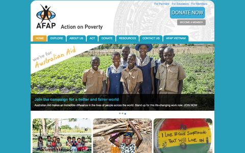 Screenshot of Home Page afap.org - HOME - AFAP Action on Poverty - captured Jan. 23, 2016