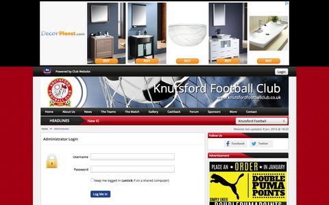 Screenshot of Login Page knutsfordfootballclub.co.uk - Website Administrator | Knutsford Football Club - captured Jan. 9, 2016