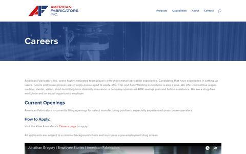 Screenshot of Jobs Page americanfabricators.com - Careers - American Fabricators Inc - captured Oct. 3, 2018