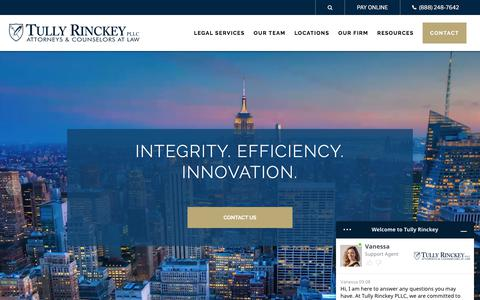 Screenshot of Home Page tullylegal.com - Attorneys for Businesses & Individuals | Tully Rinckey PLLC - captured Nov. 14, 2019