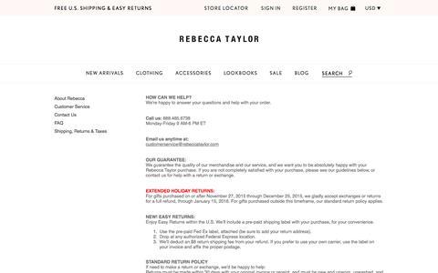 Screenshot of Support Page rebeccataylor.com - Customer Service | Rebecca Taylor - captured Jan. 10, 2016