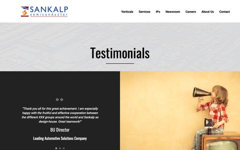Screenshot of Testimonials Page sankalpsemi.com - Testimonials - Sankalp Semiconductor - captured Oct. 2, 2018