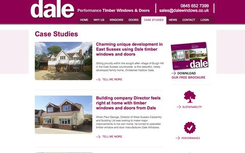 Screenshot of Case Studies Page dalewindows.co.uk - Case studies - New Timber Windows & Doors - Dale Windows - captured Sept. 30, 2014