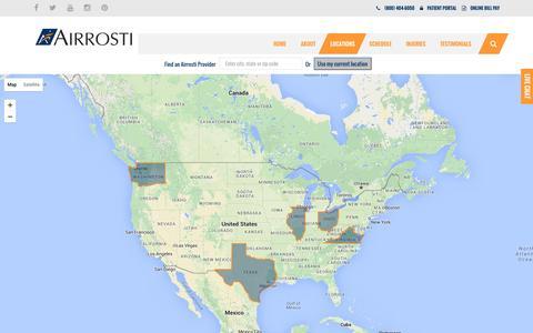 Screenshot of Locations Page airrosti.com - Locations - Airrosti Rehab Centers - captured Nov. 25, 2015