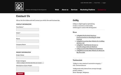 Screenshot of Contact Page gobigweb.com - Contact Us | GoBig - captured Sept. 26, 2014