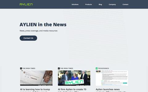 Screenshot of Press Page aylien.com - In the News | AYLIEN - captured July 18, 2019