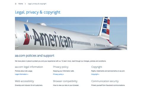 Legal, privacy, copyright − Support − American Airlines