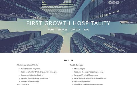 Screenshot of Services Page 1growth.com - First Growth Hospitality Consultant Services - First Growth Hospitality - captured Oct. 6, 2014