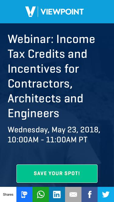 Webinar: Income Tax Credits and Incentives for Contractors, Architects and Engineers