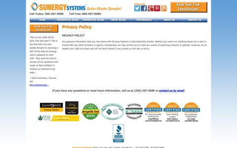 Screenshot of Privacy Page sunergysystems.com - Privacy Policy | Sunergy Systems - captured Oct. 10, 2014