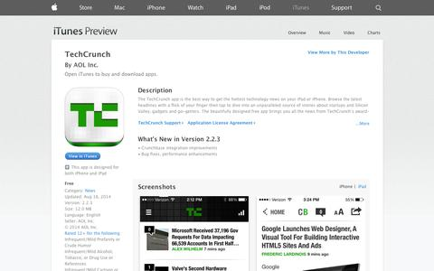 Screenshot of iOS App Page apple.com - TechCrunch on the App Store on iTunes - captured Oct. 26, 2014