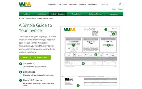 Screenshot of Support Page wm.com - Simple Guide to Your Invoice - captured Jan. 26, 2017