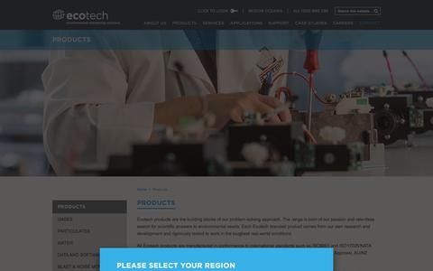 Screenshot of Products Page ecotech.com - Products - captured Jan. 26, 2016