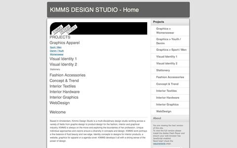 Screenshot of Home Page kimms.nl - KIMMS DESIGN STUDIO - Home - captured Oct. 15, 2018