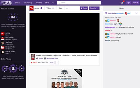 Screenshot of Signup Page twitch.tv - runitup - Twitch - captured Feb. 4, 2018