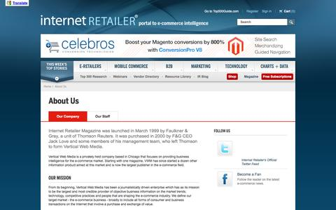 Screenshot of About Page internetretailer.com - About Us - Internet Retailer - captured Sept. 18, 2014