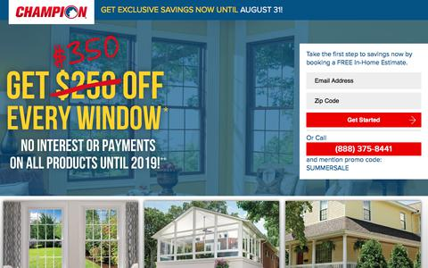 Screenshot of Landing Page championwindow.com - GET EXCLUSIVE SAVINGS NOW UNTIL AUGUST 31 - captured April 1, 2018