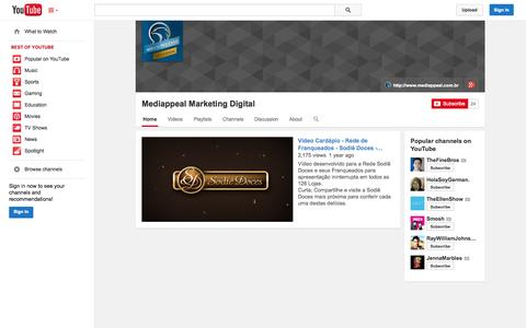 Screenshot of YouTube Page youtube.com - Mediappeal Marketing Digital  - YouTube - captured Oct. 23, 2014