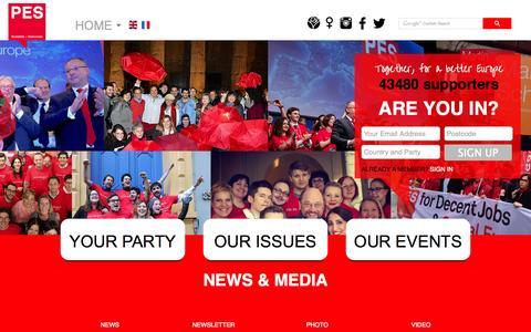 Screenshot of Press Page pes.eu - News - captured Oct. 1, 2014