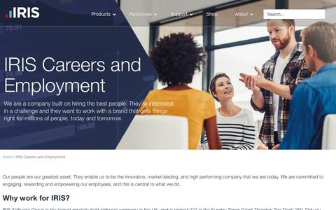 Screenshot of Jobs Page iris.co.uk - IRIS Careers | Opportunities, Projects and Benefits | IRIS Software - captured July 19, 2019