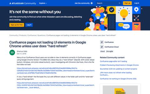 Screenshot of FAQ Page atlassian.com - Confluence pages not loading UI elements in Google... - captured Feb. 8, 2020