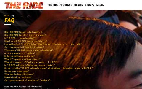 Screenshot of FAQ Page experiencetheride.com - NYC Entertainment; Live Entertainment in NYC | THE RIDE - captured Nov. 2, 2014