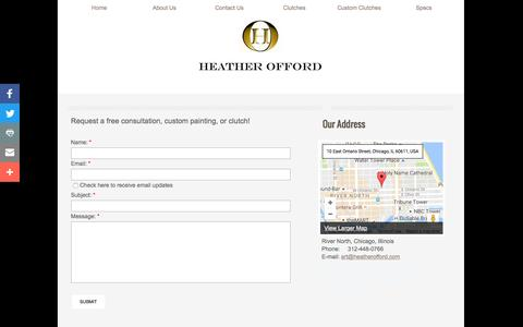 Screenshot of Contact Page heatherofford.com - Painted Handbag, Painted Purse, Painted Clutch By Heather offord : Contact - captured Nov. 6, 2016