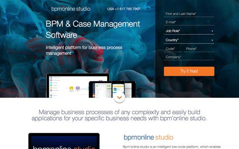 Screenshot of Landing Page bpmonline.com - Out-of-the-box processes to close more deals: bpm'online sales. Try free demo | bpm'online - captured Aug. 3, 2017