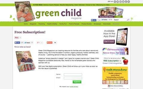 Screenshot of Signup Page greenchildmagazine.com - Free Subscription! | Green Child Magazine - captured Sept. 24, 2014