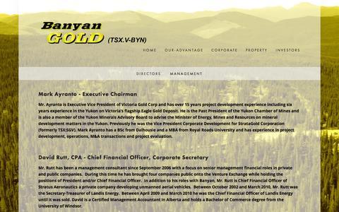 Screenshot of Team Page banyangold.com - Management — Banyan Gold Corp. - captured Oct. 5, 2014