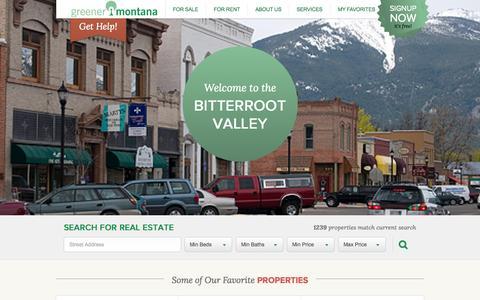 Screenshot of Home Page greenermt.com - Greener Montana Properties — Serving the Bitterroot Valley - captured Sept. 16, 2015