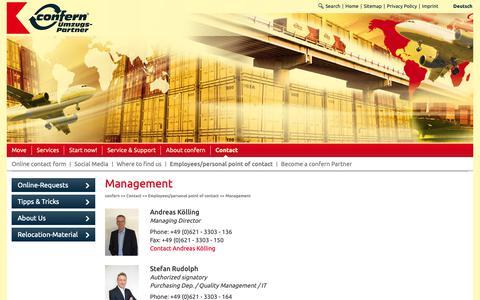 Screenshot of Team Page confern.de - Management - confern Möbeltransportbetriebe GmbH - captured Sept. 30, 2018