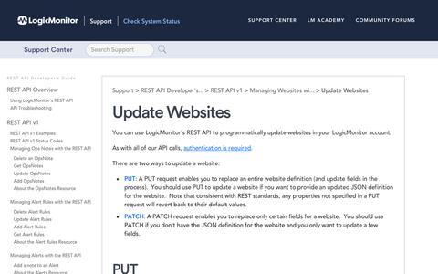 Screenshot of Developers Page logicmonitor.com - Update Websites   LogicMonitor Support - captured Dec. 12, 2019