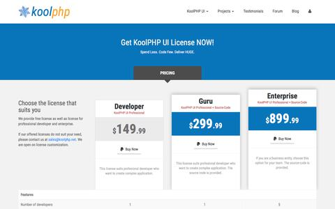 Screenshot of Pricing Page koolphp.net - Purchase KoolPHP UI License | KoolPHP - captured Oct. 13, 2017