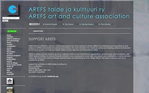 Screenshot of Support Page arefs.org - support - captured Feb. 5, 2016