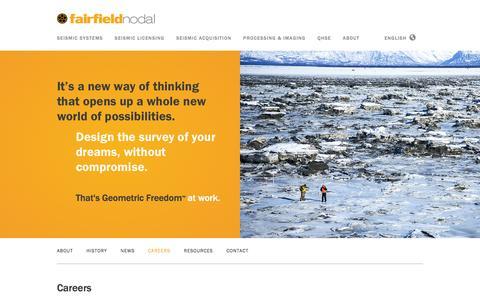 Screenshot of Jobs Page fairfieldnodal.com - Underground Energy Seismic Survey with ZLand — FairfieldNodal - captured Jan. 8, 2016