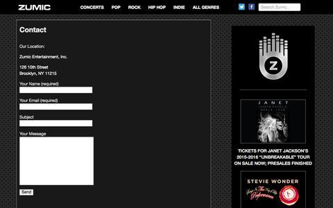 Screenshot of Contact Page zumic.com - Contact | Zumic - Free Music - captured Nov. 2, 2015