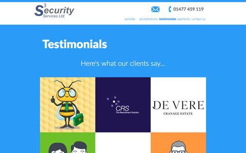 Screenshot of Testimonials Page s3securityservices.com - testimonials | S3Security services - captured Sept. 29, 2017