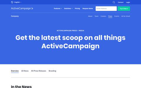 Screenshot of Press Page activecampaign.com - Press + Media Resources   ActiveCampaign - captured June 18, 2019