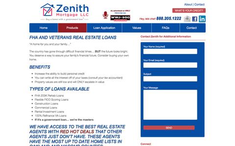 Screenshot of Products Page zenithmtg.com - Products | Zenith Mortgage - captured Oct. 27, 2014