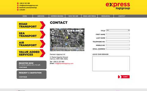 Screenshot of Contact Page expresslogigroup.com - Contact - captured Oct. 3, 2014