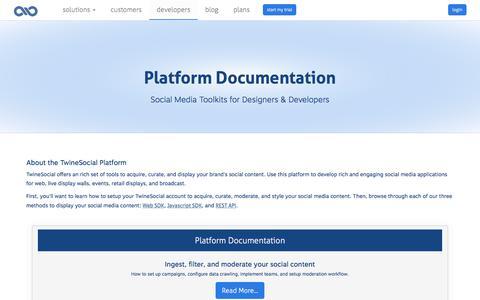 Screenshot of Developers Page twinesocial.com - Social Media Platform API - captured July 5, 2018