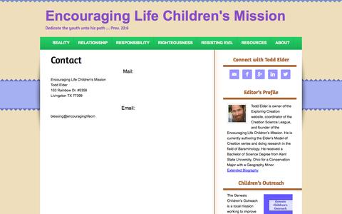 Screenshot of Contact Page encouraginglifecm.info - Contact - captured Oct. 2, 2014