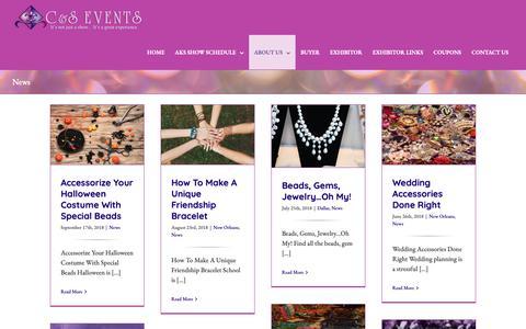 Screenshot of Press Page aksshow.com - News - AKS Bead, Gem, and Jewelry Show - captured Oct. 2, 2018