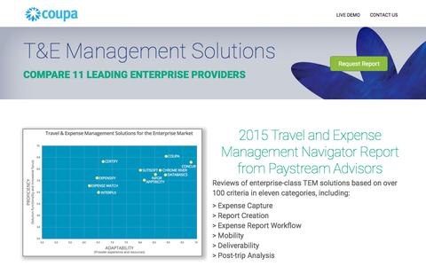 Screenshot of Landing Page coupa.com - Coupa |Travel and Expense Management Report - captured March 1, 2018