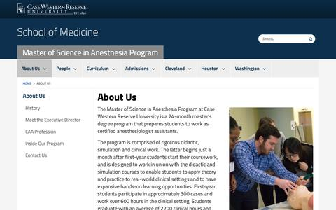 Screenshot of About Page case.edu - About Us | Master of Science in Anesthesia Program | School of Medicine | Case Western Reserve University | Case Western Reserve University - captured Oct. 25, 2018