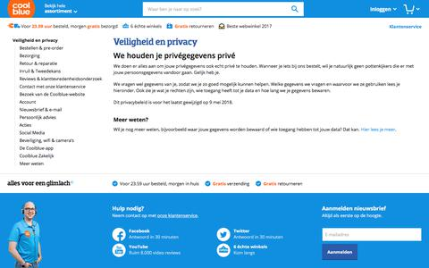 Screenshot of Privacy Page coolblue.nl - Veiligheid en privacy - Coolblue - alles voor een glimlach - captured May 11, 2018