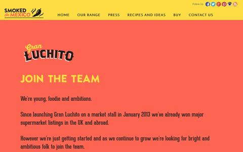 Screenshot of Jobs Page luchito.co.uk - Gran Luchito Jobs - captured Oct. 3, 2014