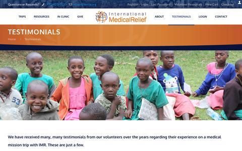 Screenshot of Testimonials Page internationalmedicalrelief.org - Testimonials - International Medical & Dental Relief - captured Sept. 19, 2018