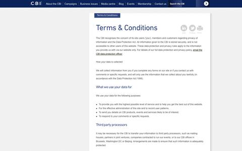 Screenshot of Terms Page cbi.org.uk - CBI: Terms & Conditions - captured Sept. 23, 2014